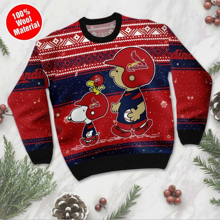 Snoopy and Charlie Brown St Louis Cardinals Ugly Christmas Sweater 2