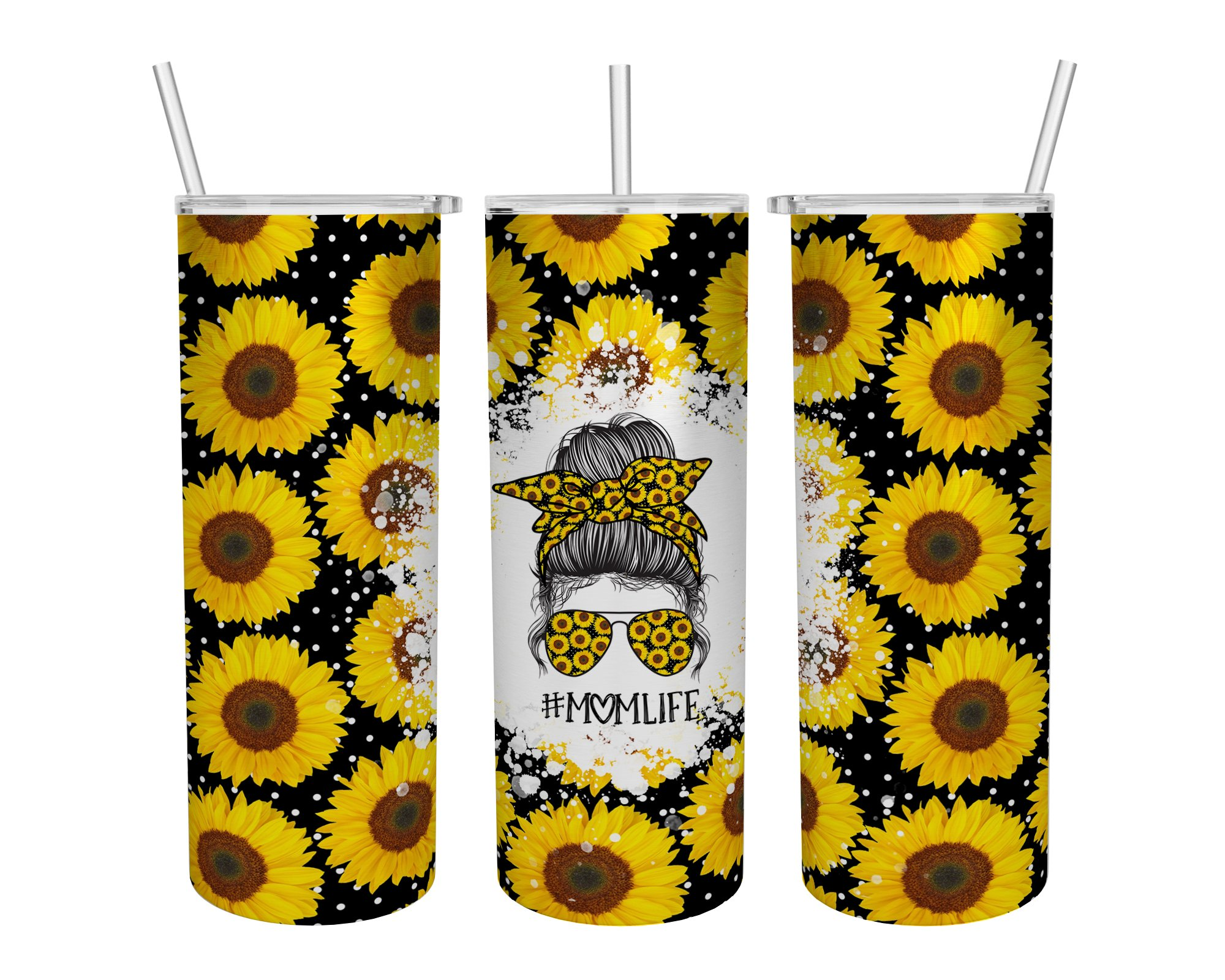 Momlife sunflower skinny tumbler 1