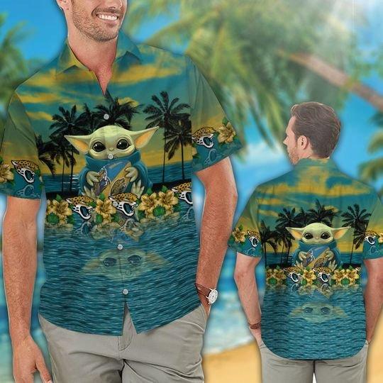 20 Jacksonville Jaguars And Baby Yoda Hawaiian Shirt Short 1