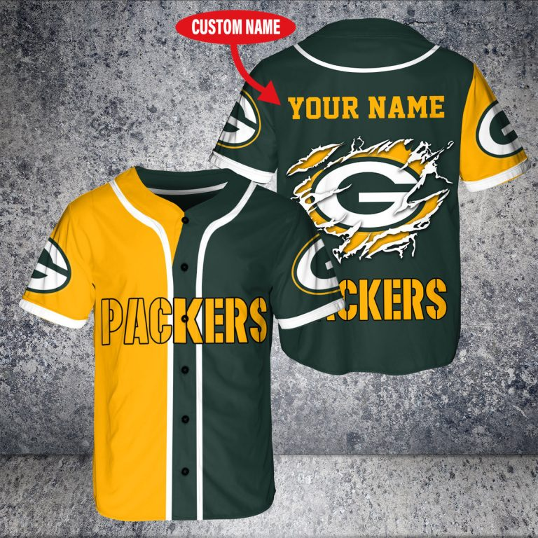 NFL Green Bay Packers custom personalized name Baseball Jersey 1