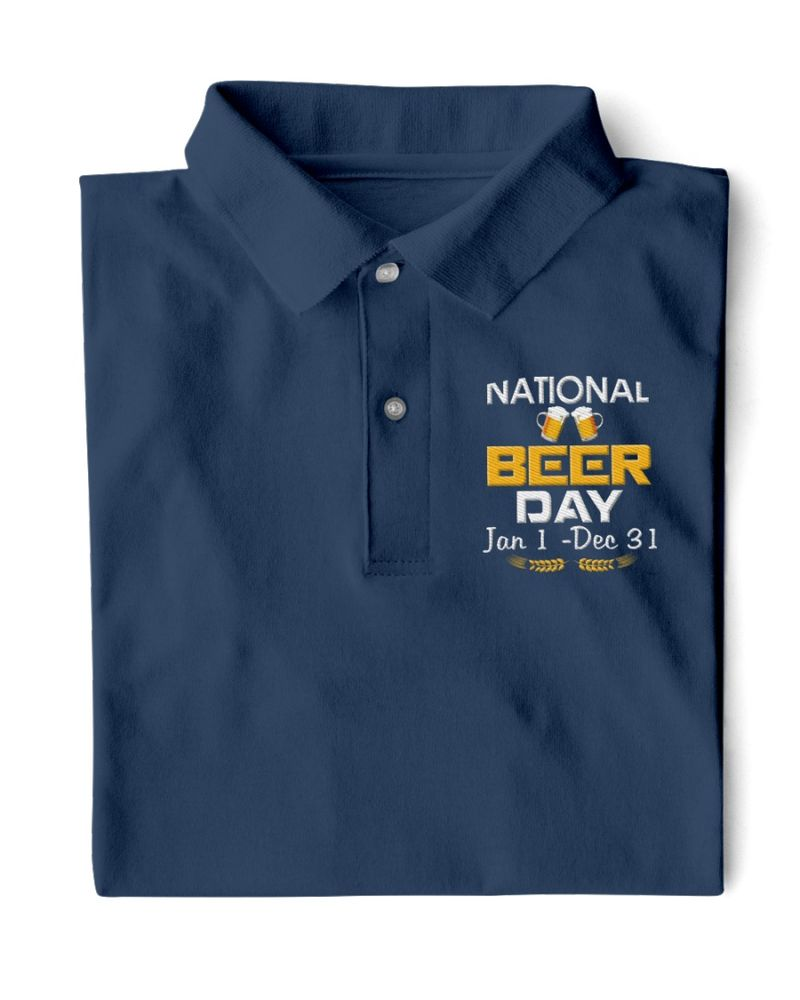 National beer day Jan 1 Dec 31 polo shirt 1