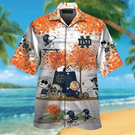 Notre dame fighting Irish Snoopy autumn hawaiian shirtshort1