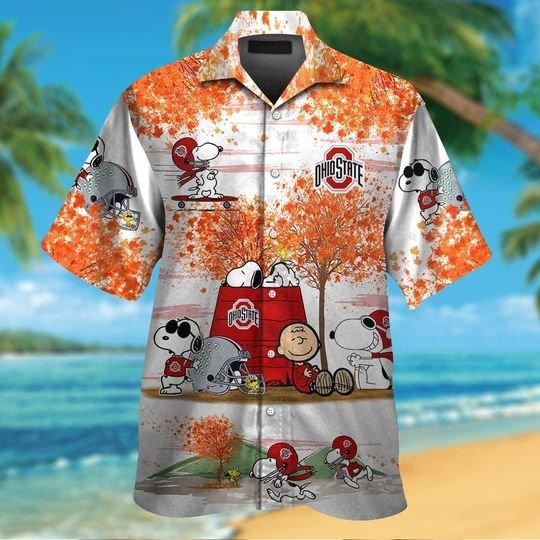 Ohio state buckeyes Snoopy autumn hawaiian shirtshort1