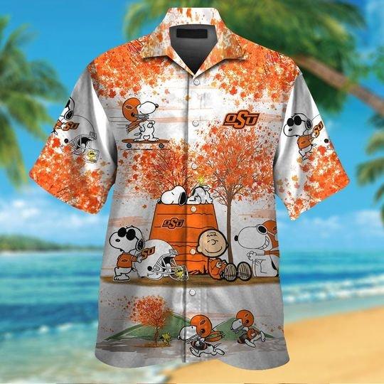 Oklahoma state cowboys Snoopy autumn hawaiian shirtshort1