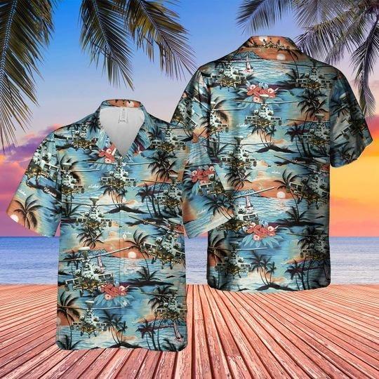 British Army Westland Wah 64 Apache Hawaiian Shirt