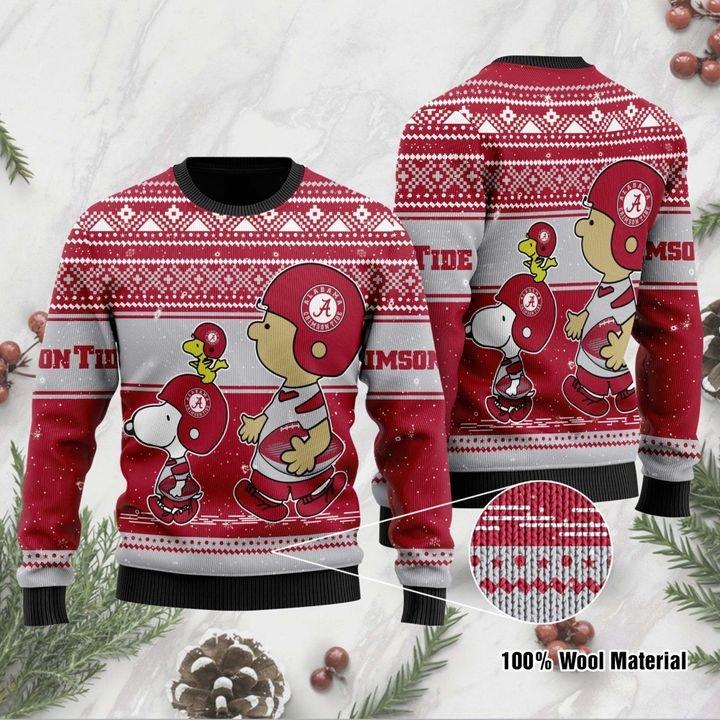 Alabama Crimson Tide Snoopy and Charlie Brown ugly Christmas Sweater 1