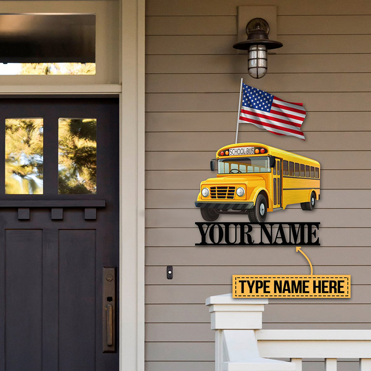 Personalized School Bus Shaped Custom Name Metal Sign2