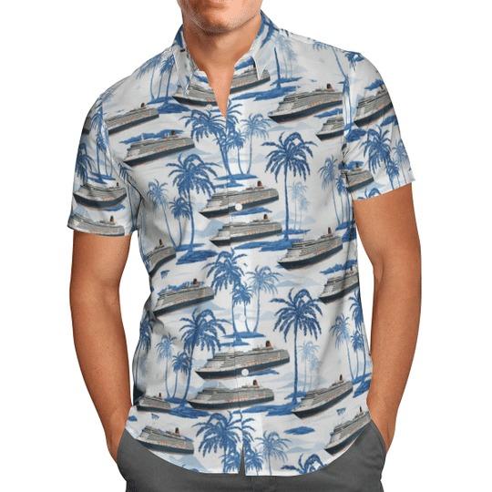 Cunard line ms queen victoria hawaiian shirt 2