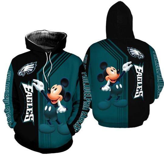 Philadelphia eagles mickey mouse hoodie 3d all over print hoodie