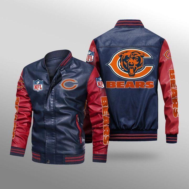 Chicago Bears Leather Bomber Jacket 4