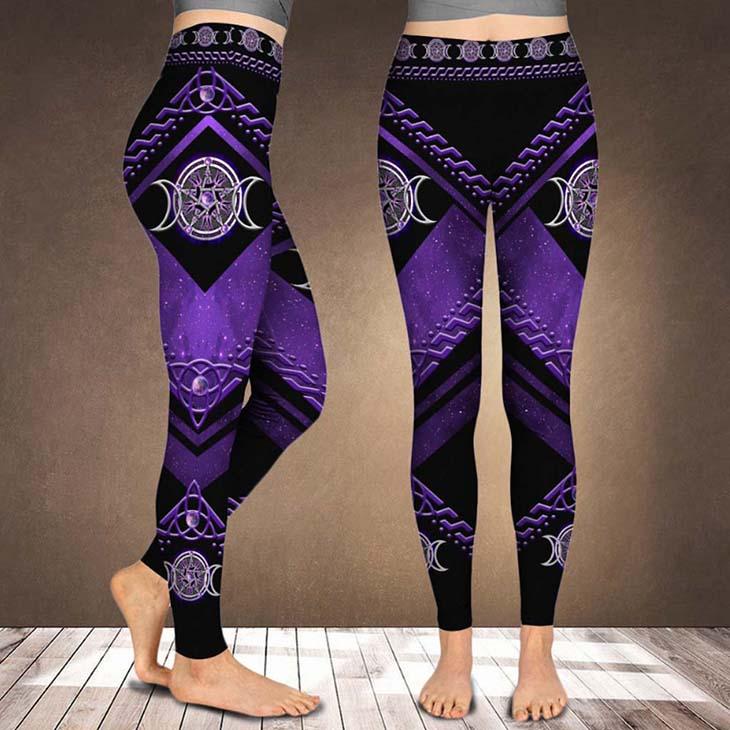 Purple Tripple Moon Witch Leggings