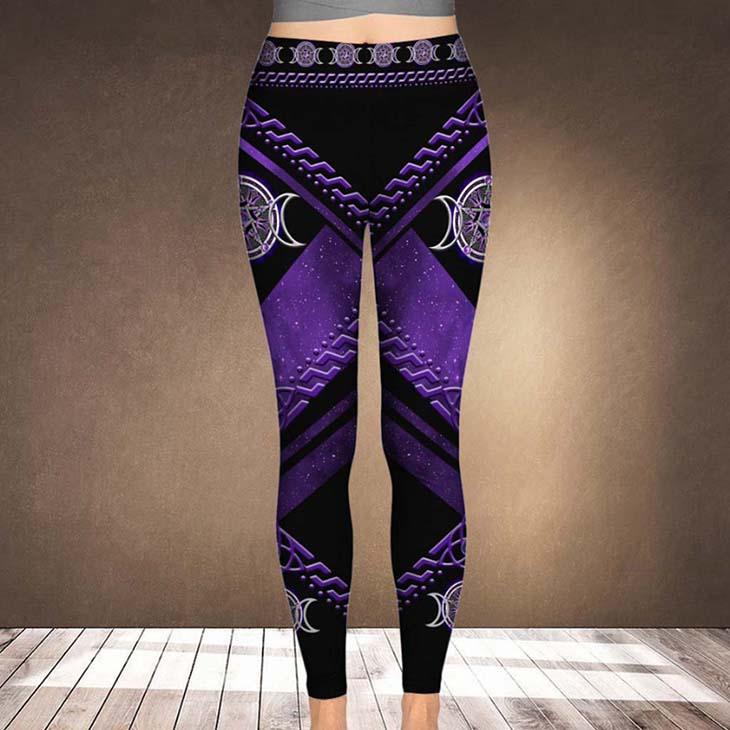 Purple Tripple Moon Witch Leggings1
