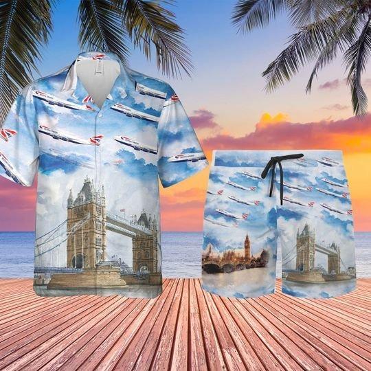 British airways plane hawaiian shirt and shorts 1