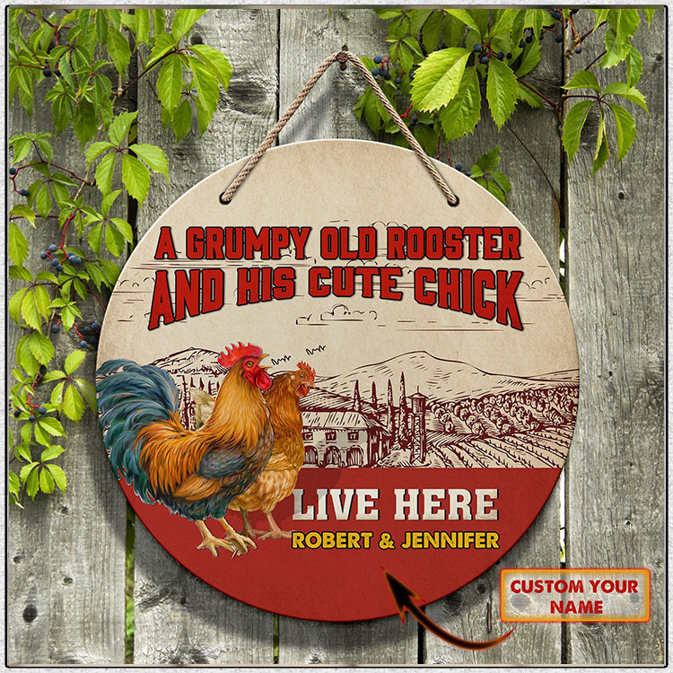 Rooster Chicken A Grumpy Old And His Cute Chick Custom Name Round Wooden Sign1