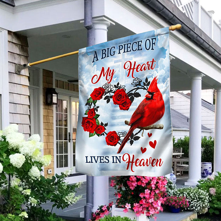Rose A Big Piece Of My Heart Lives In Heaven Flag