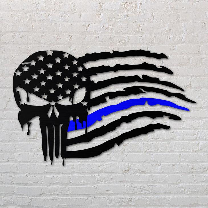 Skull Back The Blue Shaped Metal Sign1