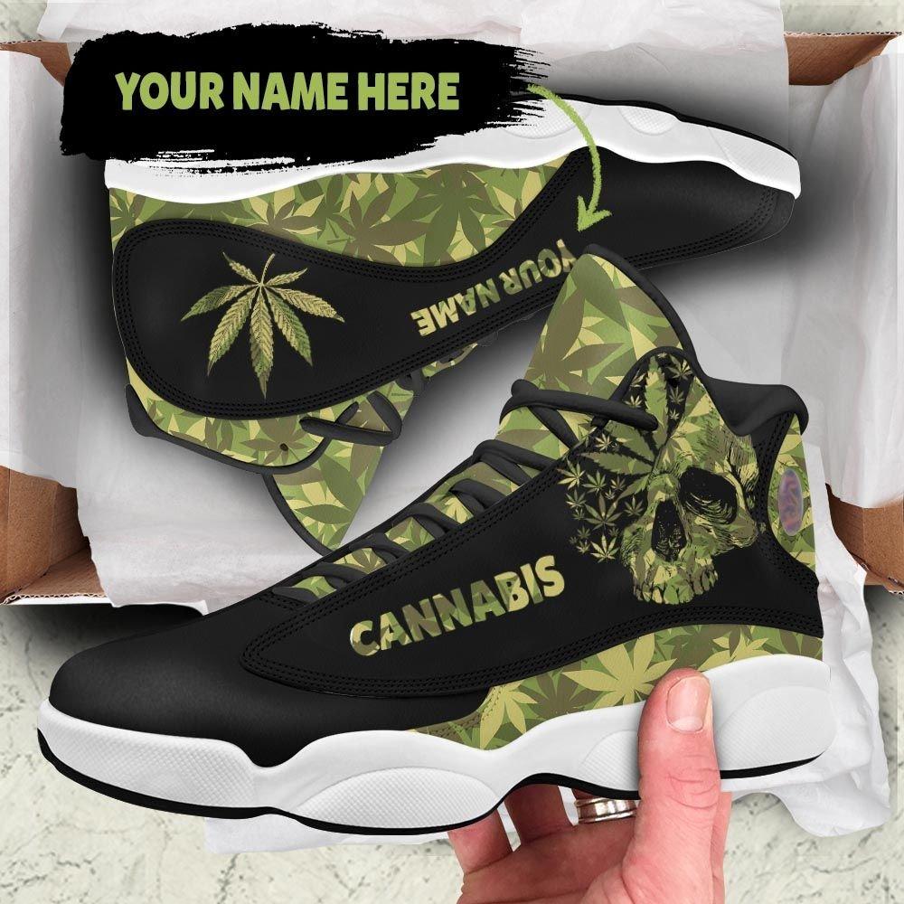 Skull Camo Cannabis Custom Name Air Jordan 13 Sneakers1