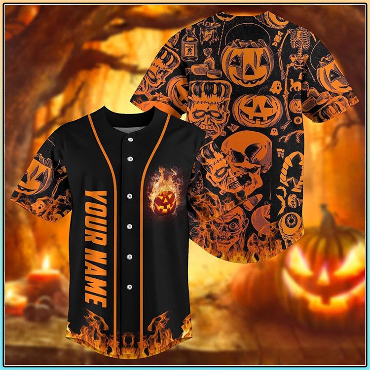 Skull pumpkin halloween custom personalized name baseball jersey1