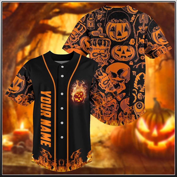 Skull pumpkin halloween custom personalized name baseball jersey2