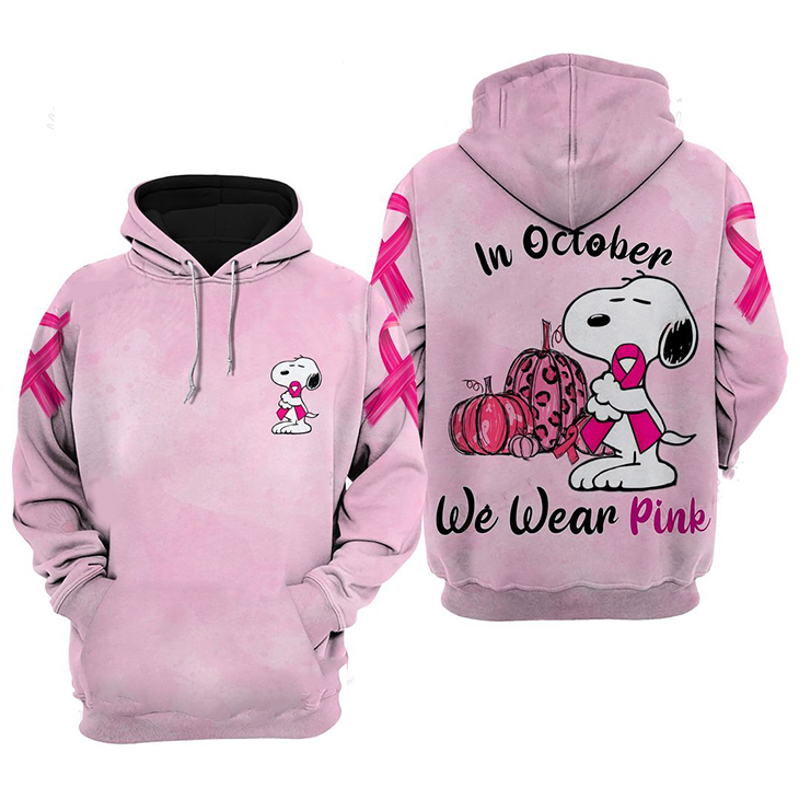 Snoopy In October We Wear Pink 3D Hoodie And Shirt