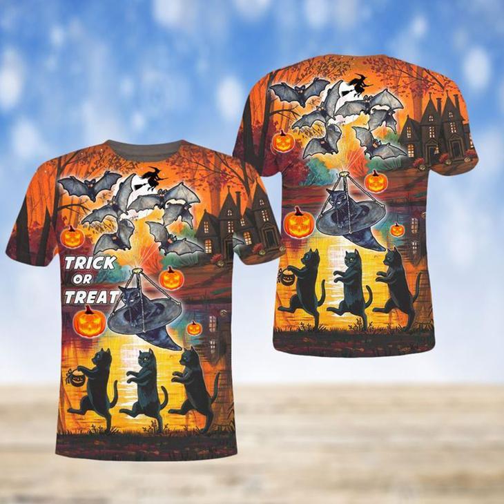 Spooky Trick Or Treat Halloween 3D Sweatshirt And Shirt