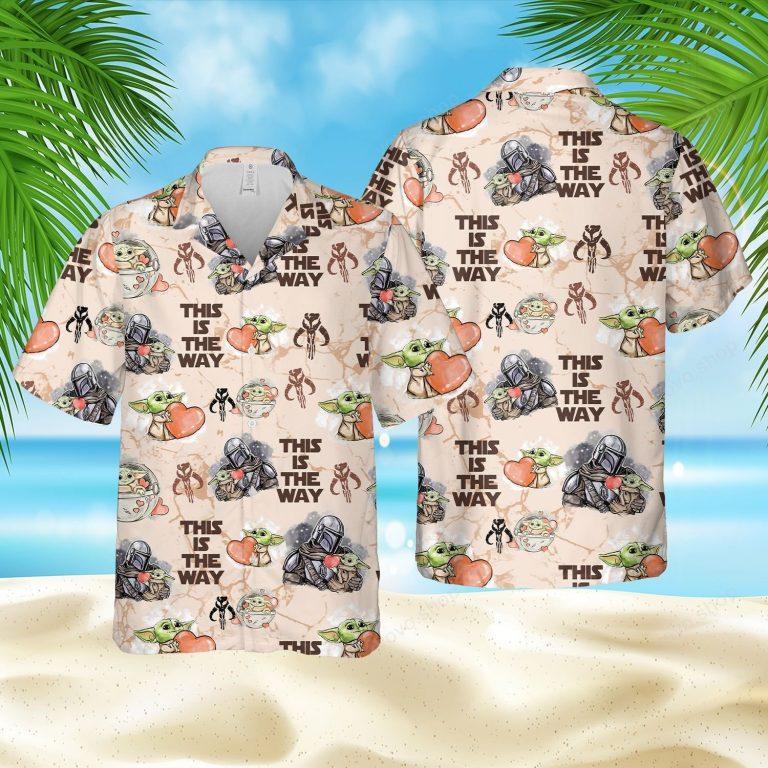 Star Wars Baby Yoda Darth Vader this is the way Hawaiian shirt short 1