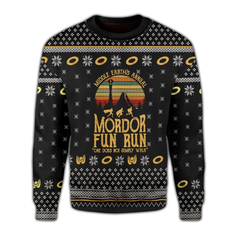 The Lord of the Rings Mordor fun run one does not simply walk Ugly Sweater