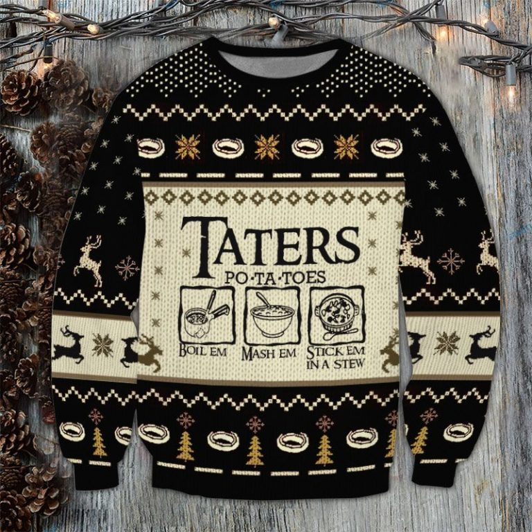 The Lord of the Rings Taters Potatoes Boil em Ugly Sweater 3