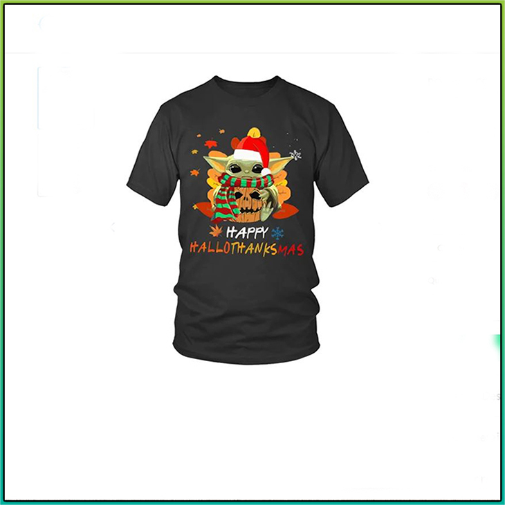Baby Yoda Happy HalloweenThanksMas Hoodie Shirt3