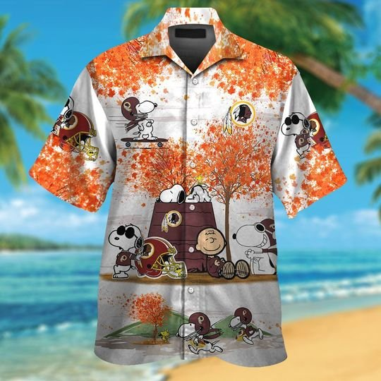 Washington redskins The Peanuts Snoopy autumn hawaiian shirt,short