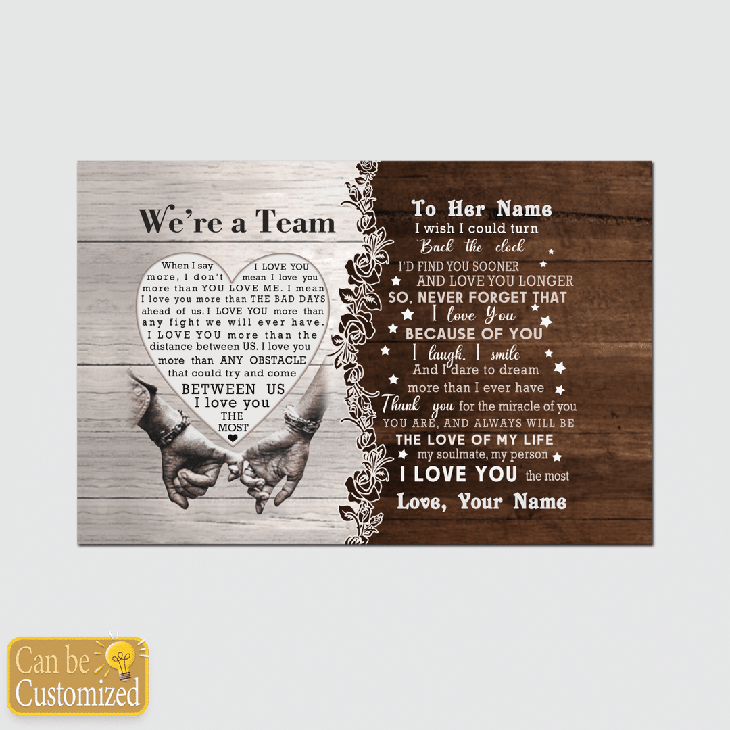 Were A Team Between Us I Love You The Most Custom Name Canvas And Poster1