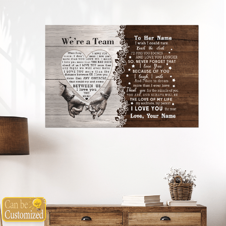 Were A Team Between Us I Love You The Most Custom Name Canvas And Poster2