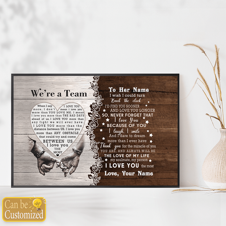 Were A Team Between Us I Love You The Most Custom Name Canvas And Poster3