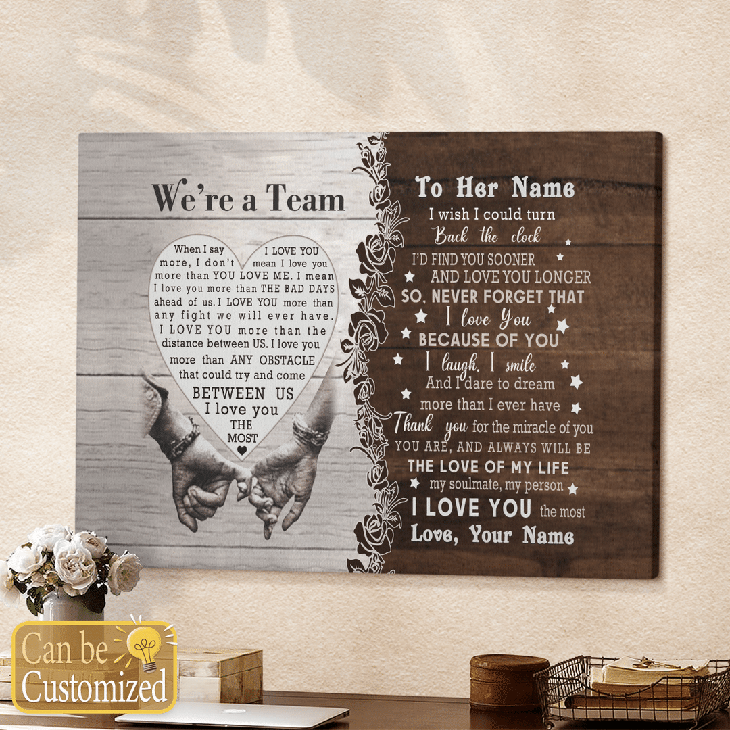 Were A Team Between Us I Love You The Most Custom Name Canvas And Poster5