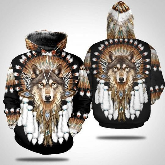 Wolf Native american 3d all over print hoodie
