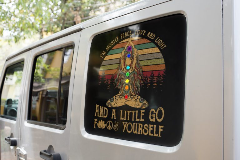 Yoga Tattoo women Im mostly peace love and light and a little go decal 1