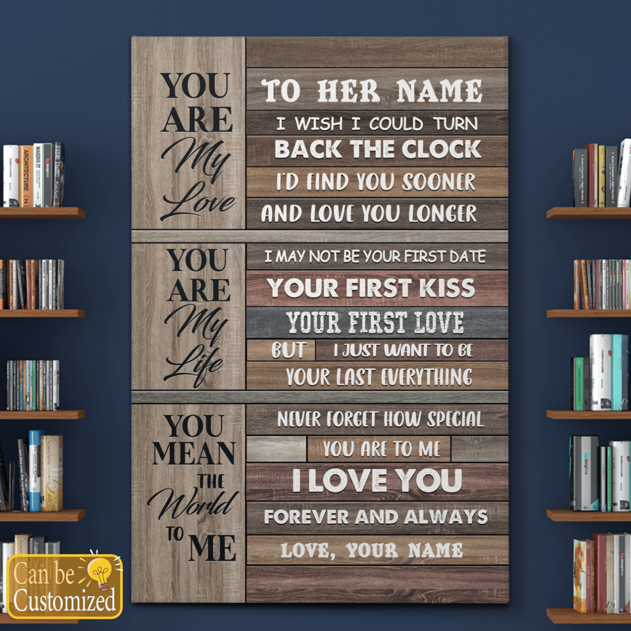 Youre my love youre my life you mean the world to me custom name poster and canvas 4