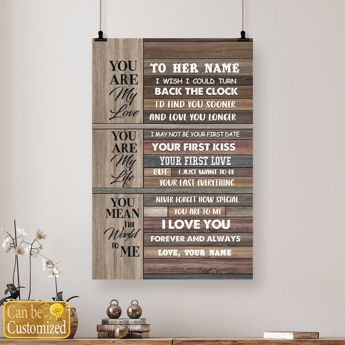 Youre my love youre my life you mean the world to me custom name poster and canvas 5