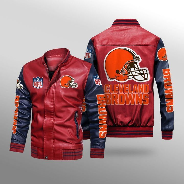 Cleveland Browns Leather Bomber Jacket 2