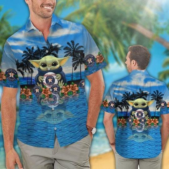 22 Houston Astros And Baby Yoda Hawaiian Shirt Short 1