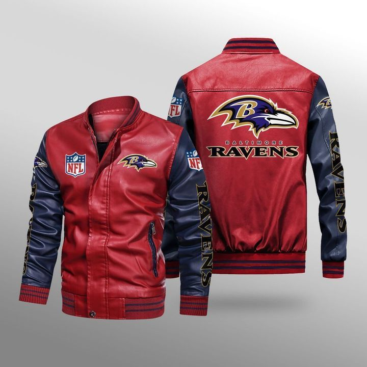 Baltimore Ravens Leather Bomber Jacket 2