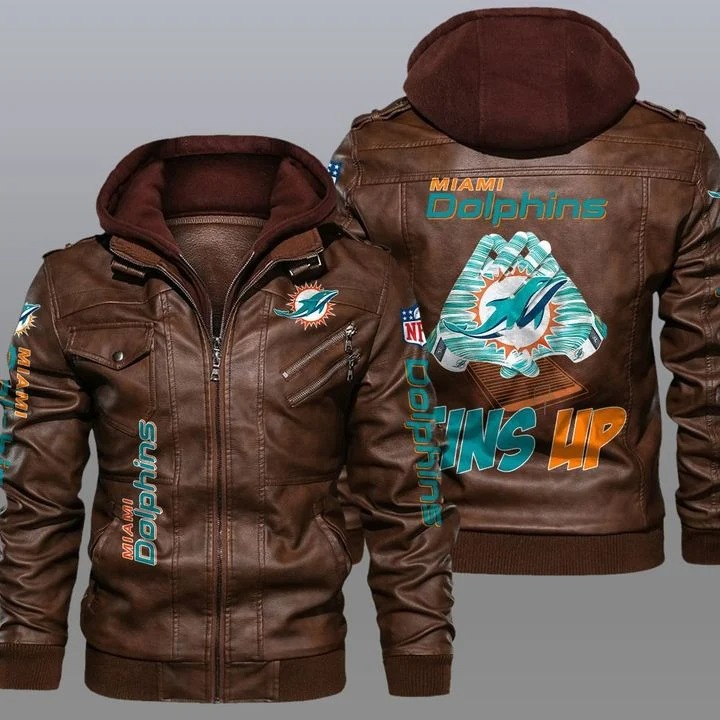 Miami Dolphins 2d leather jacket 2