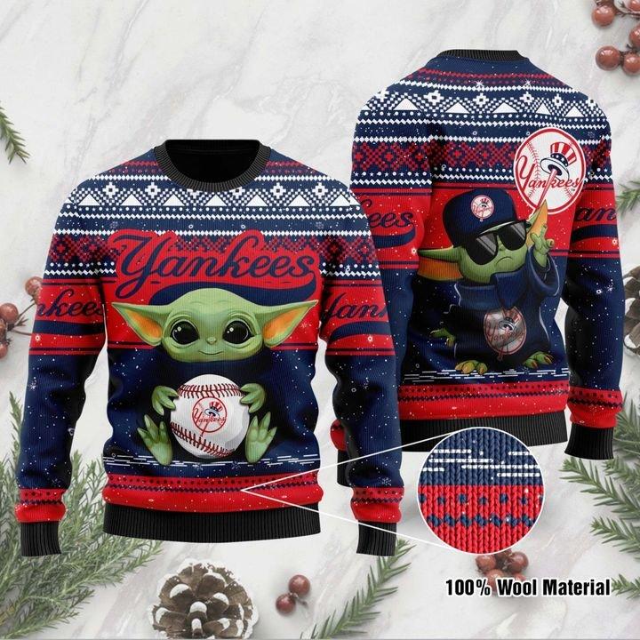 Baby Yoda New York Yankees ugly Christmas Sweater 1