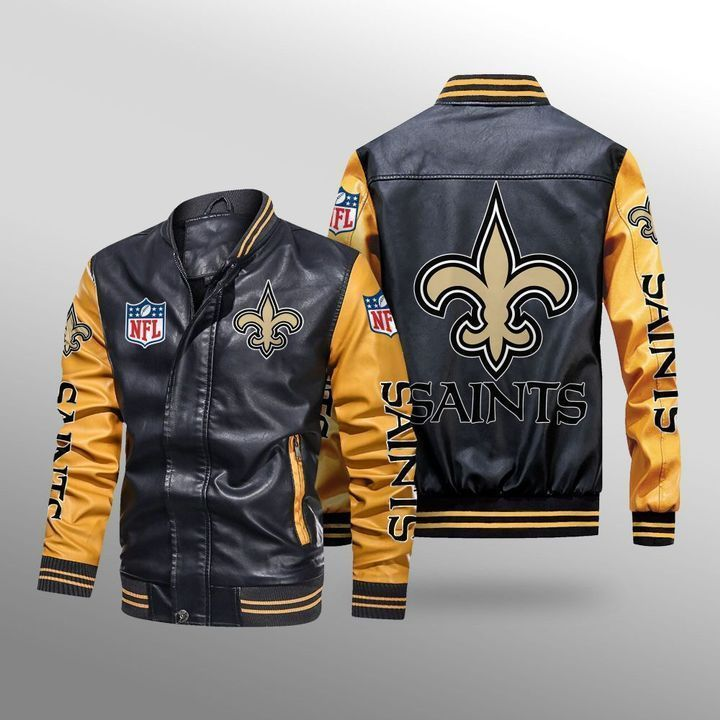 New Orleans Saints Leather Bomber Jacket 3