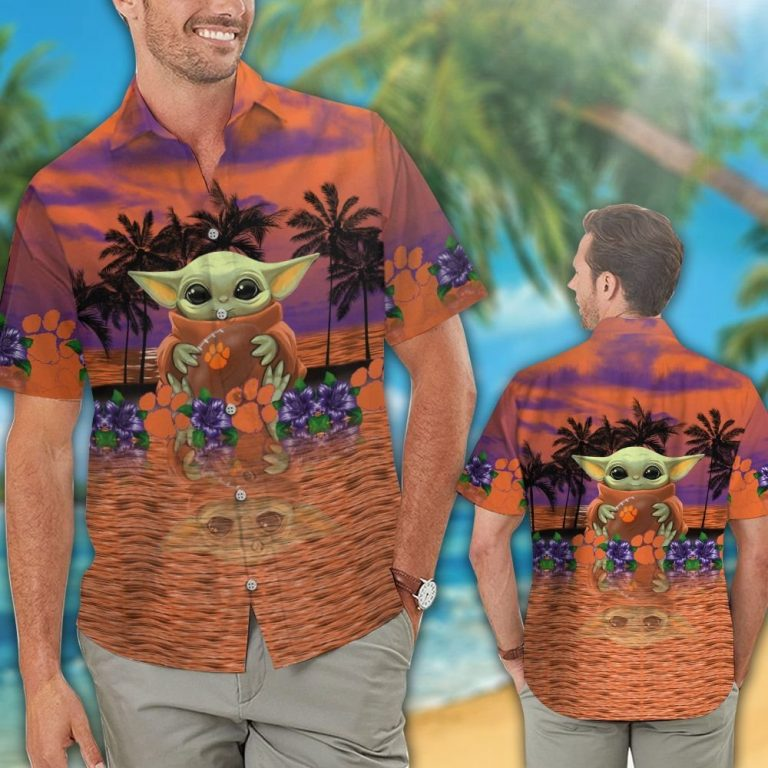30 Clemson Tigers And Baby Yoda Hawaiian Shirt Short 1