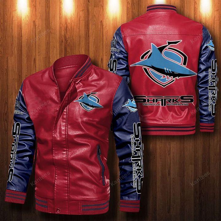 Cronulla Sutherland Sharks Leather Bomber Jacket 2