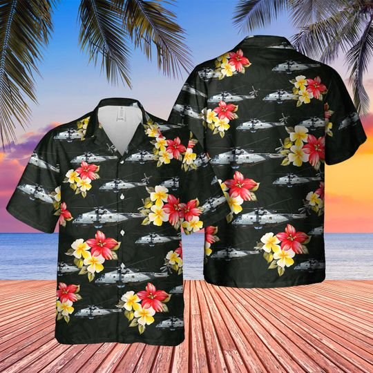 Royal Navy Merlin Hm Mk2 Hawaiian Shirt
