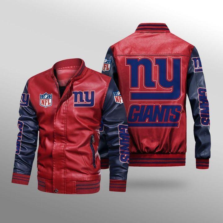 New York Giants Leather Bomber Jacket 2