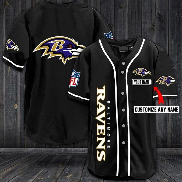 Nfl baltimore ravens custom name baseball jersey shirt