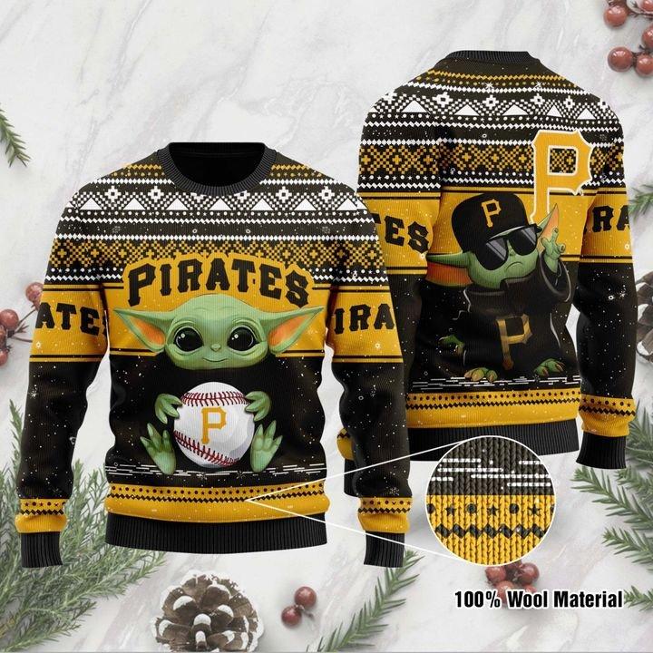 Pittsburgh Pirates Baby Yoda Ugly Christmas Sweater 1